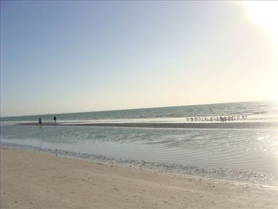 This really is the uncrowded beach in front of Sanibel Arms West.