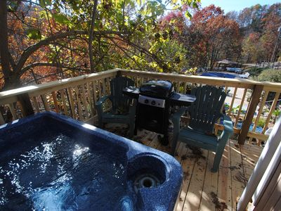 'Cottage deck with hot tub and grill