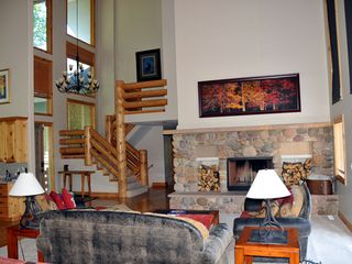 Park City house photo - Spacious, open living area - Wood burning fireplace