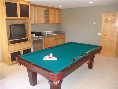 Pool / Game Room with Wet Bar and TV.