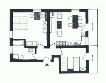 Layout of two-bedroom apartment