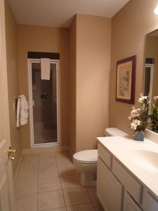 Downstairs bathroom with walk in shower, washbasin, w.c.