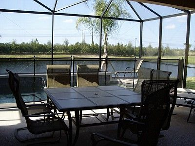Outdoor dining for 8 with cooling ceiling fan