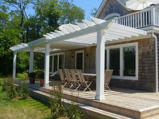 Shelter Island house photo - spacious lower deck for dining or lounging