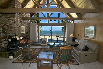 Bijou Park chalet rental - Great room, fireplace, television and gorgeous view of deck and beach.