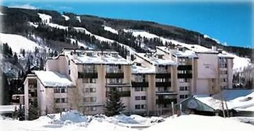 Evergreen Lodge condo rental - Evergreen Lodge & view of Lionshead ski runs. Our condo is top floor on left