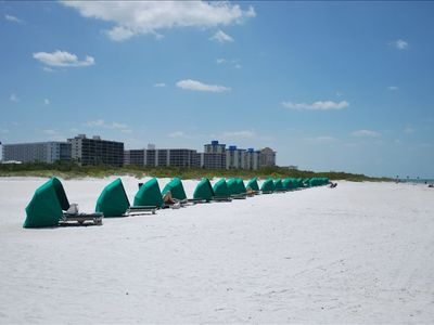 Rent covered cabanas or beach chairs & umbrellas right on the beach
