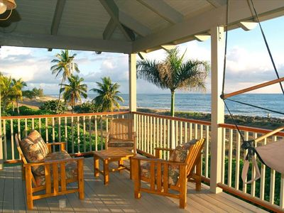 Relax and take in the beautiful view from the oceanside lanai.