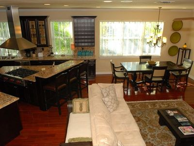 Brazilian Cherry Floor Living Room, Fully Equipped Kitchen and Dining Room