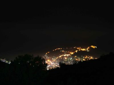 View of Alanya castle at night from Your Villa