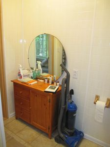 Tunk Lake cabin rental - Small bathroom cabinet opposite shower.
