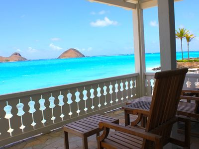 Lower deck overlooking the famous Mokulua Islands