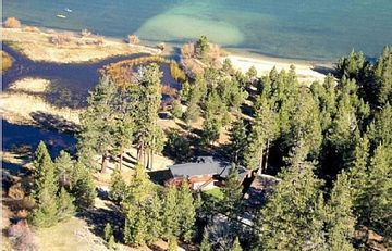 Aerial Photo of the property and location on Lake Tahoe, Meadow and River