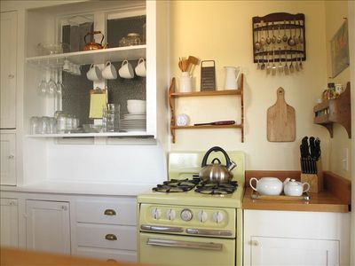 Old fashioned kitchen with vintage stove