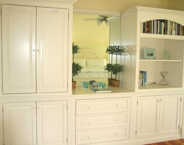 Master bedroom's custom cabinetry.
