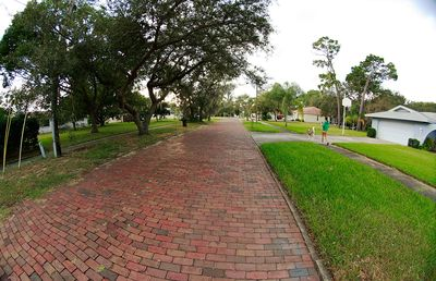 Beautiful brick streets on the way to sunset beach.