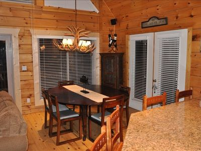 Big Bear City cabin rental - Dine in or out, you'll have plenty of chairs and place to eat.