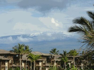 View from lanai of Mauna Kea with snow!