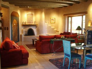 Taos estate photo - Living Room with Kiva Fireplace