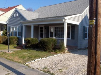 Chincoteague Island house rental - Front of Cottage. Great front porch, screened in rear porch, off street parking.