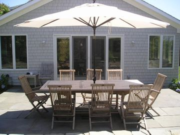 Patio table and umbrella