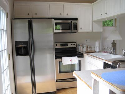 Cottage Kitchen - SS appliances, dishes, pots/pans, toaster, coffee maker.