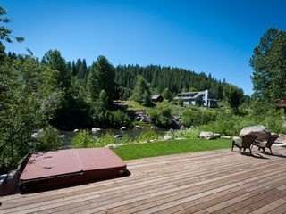 Truckee house photo - Sit on the deck and enjoy the Truckee River. Hot Tube, Outdoor Fireplace too!