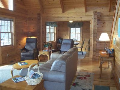 View entering cabin   New leather furniture