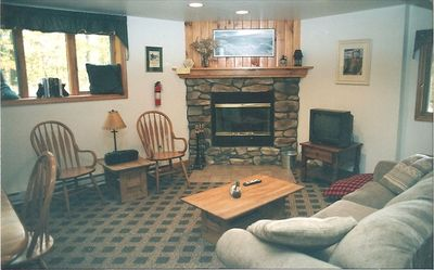 Lake Placid chalet rental - Another Fireplace to Enjoy on the Lower Level