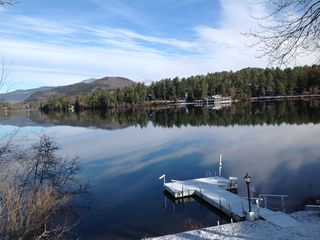 Mirror Lake house rental - Awesome view from deck on a snowy morning! Whiteface Mountain in distance