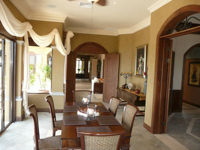 Dominical house rental - Elegant Dining Room with a panoramic view of the ocean and pool