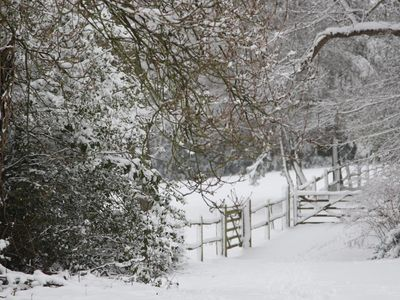 Mole Valley barn rental - Walk to the woods In winter