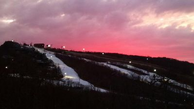 View of Beech Mountain Ski Slopes at Sunset off of the Condo Balcony