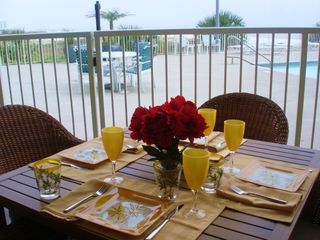 Biloxi condo photo - Private patio with direct access to pool and beach.