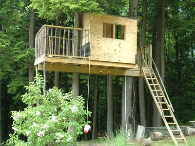 Older kids enjoy this TREE HOUSE with swing set.