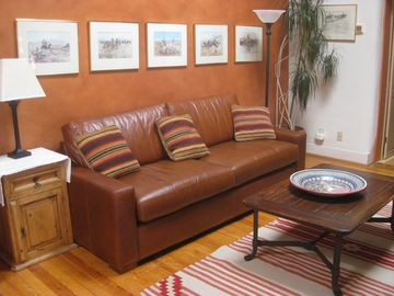 New leather sleeper sofa in living room!