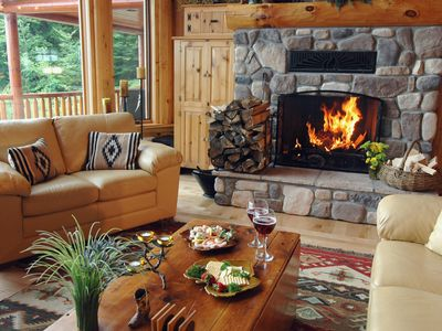 Bridgton lodge rental - Fieldstone Fireplace in Living Room