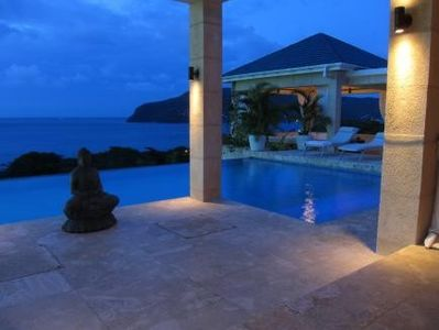 Bequia villa rental - Night time view from the pool deck over Lower Bay and Admiralty Bay