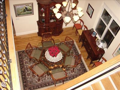 The two story Dining Area offers this unique perspective from the stairway.