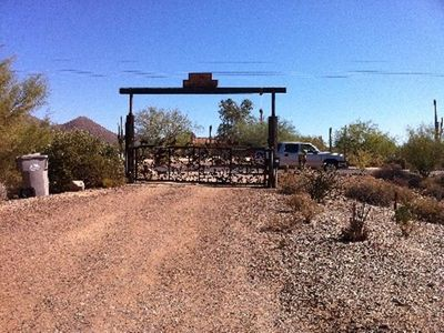 Cave Creek villa rental - Entrance to the Lucky 8 Ranch from North School House Road. How cool is that?