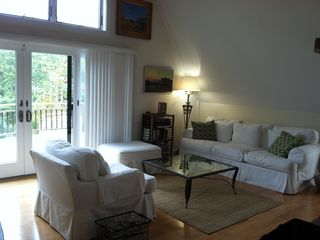 Wellfleet house photo - Comfortable living room with wonderful natural light and oversized fireplace