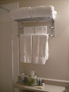 Luxury towels and toliletries are provided for our guest's comfort