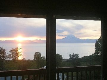 Overlooking Cook Inlet with Mountain Volcano View from Covered Deck