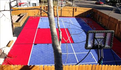 Sport court 3 BB hoops, shuffleboard, 4square, etc. will provide hours of fun!