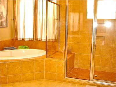 Walk-in Shower and Deep Soaking Tub, like having your own Four Seasons Spa