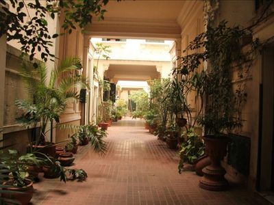 The romantic, secluded Pasaje with it's lush plants and architectural reliefs.