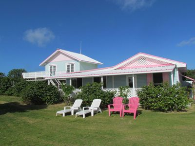 North Eleuthera house rental - Front of Turtle Cove - soothing aqua with conch pink shutters. Lovely views!