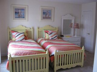 Seaside Heights condo photo - twin bedroom with full bath and tv with couch in alcove.