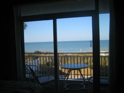 The balcony with the view of the beach and Gulf of Mexico
