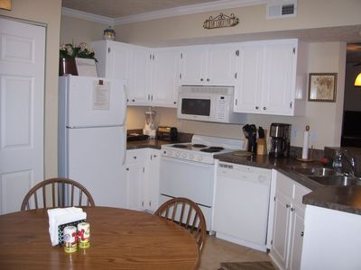 Our newly redecorated kitchen with all of the necessary conveniences.